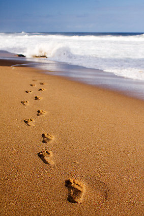 About Counselling. Footsteps in sand - about counselling page